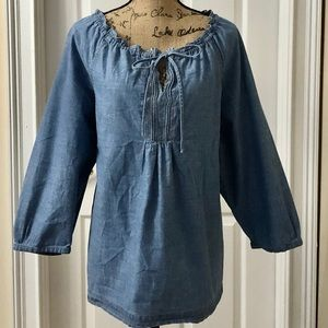 IZOD denim peasant blouse